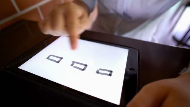 Businesswoman drawin on tablet video