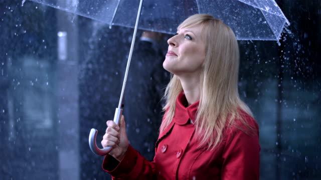 Businesswoman Enjoying The Rain