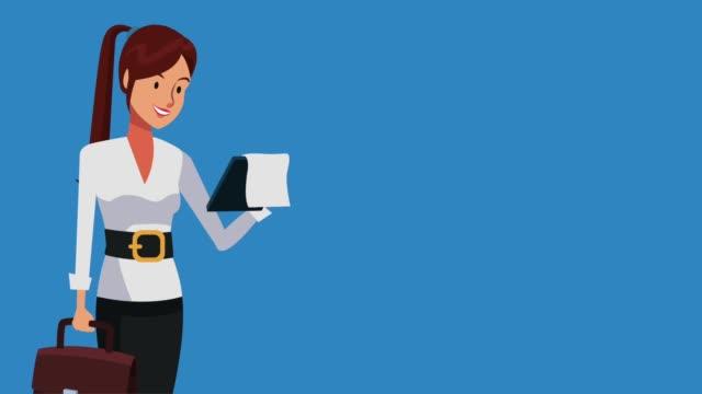 businesswoman executive worker hd animation - weibliche führungskraft stock-videos und b-roll-filmmaterial