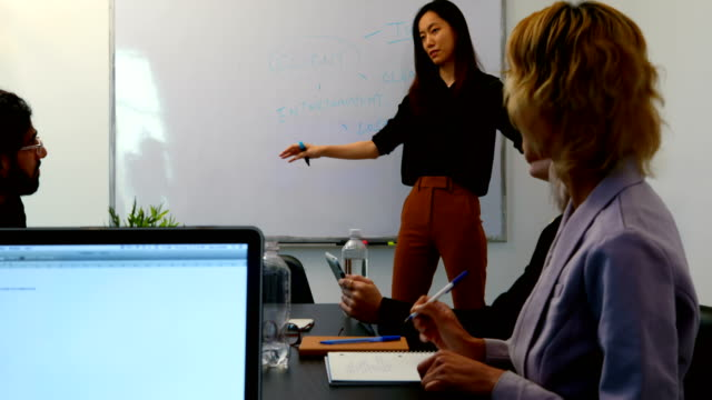 Businesswoman giving presentation in conference room 4k