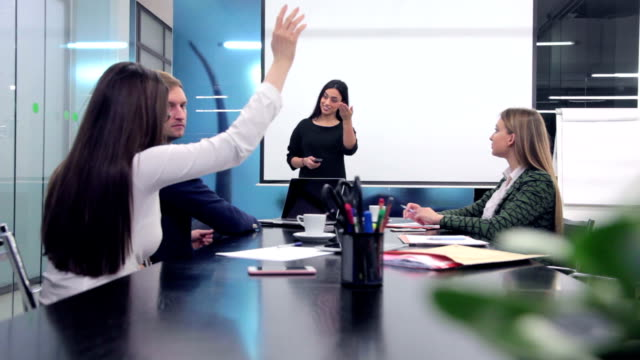 Businesswoman giving presentation video