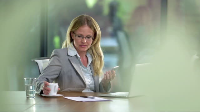 PAN MS Businesswoman Having A Call During Coffee Break video