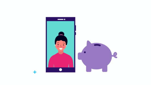 businesswoman in smartphone with piggy savings video