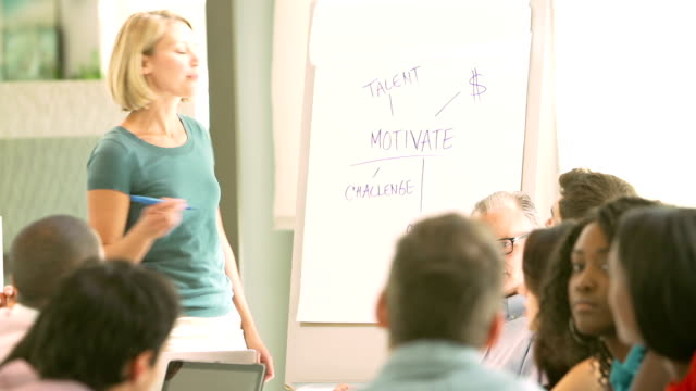 Businesswoman Leading Brainstorming Session With Colleagues video