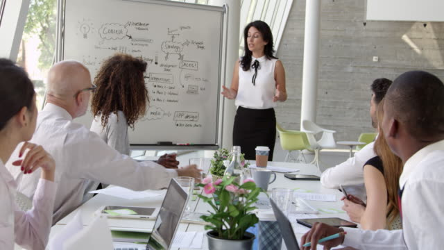 Businesswoman Leads Brainstorming Session Shot On R3D