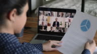 istock Businesswoman makes financial report to team during video call meeting 1270586167