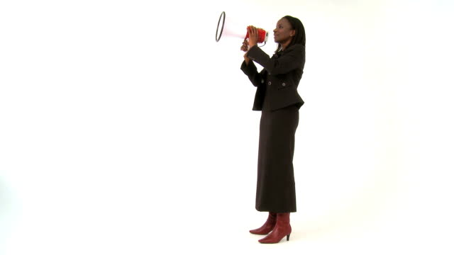 Businesswoman making a statement  announcement message stock videos & royalty-free footage