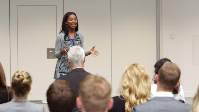 Businesswoman Making Presentation At Conference Shot On R3D
