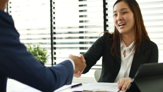 Businesswoman meeting a job interview in the office and Handshake video
