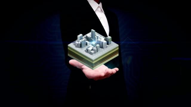 Businesswoman open palm, 3D buildings makes city, buildings surrounded road. illustration view. video