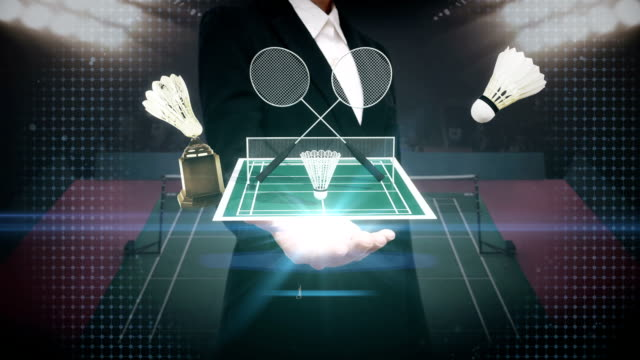 Businesswoman open palm, Badminton icon, shuttlecock, net, Badminton Stadium. video