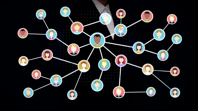 Businesswoman open palm, Connecting people, business network. social media service. video