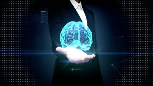 businesswoman open palm, digital brain, dots connected brain shape, digital lines in digital display interface, grow future artificial intelligence. - digital marketing stock videos & royalty-free footage