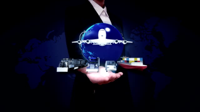 Businesswoman open palm, Global transportation, airplane, train,ship, front view video