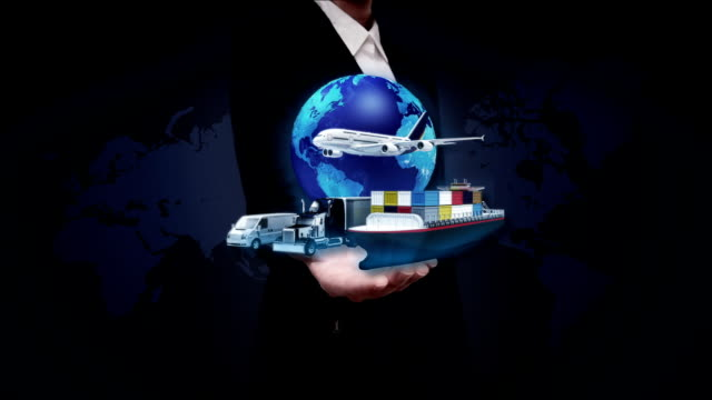Businesswoman open palm, Global transportation with airplane, train,ship, car. video