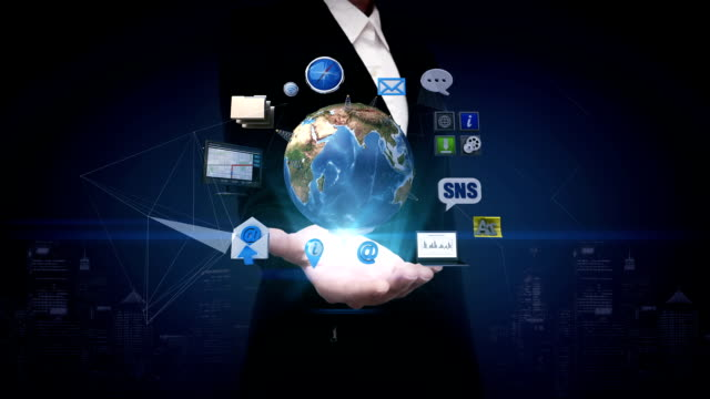 Businesswoman open palm, Rotating earth, expanding social network service. artificial satellite, Communication technology video