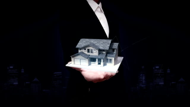 Businesswoman open palms, real estate, constructed house. video