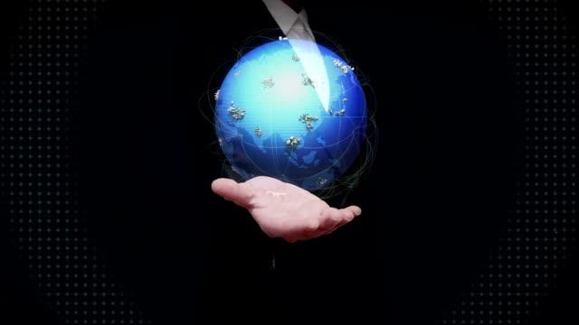 Businesswoman open palms,Growing Global Network communication technology.