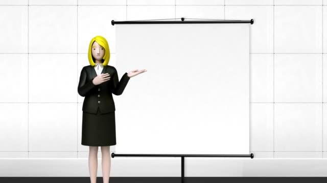 Businesswoman presentation front flipchart. gesture hand pointing. video