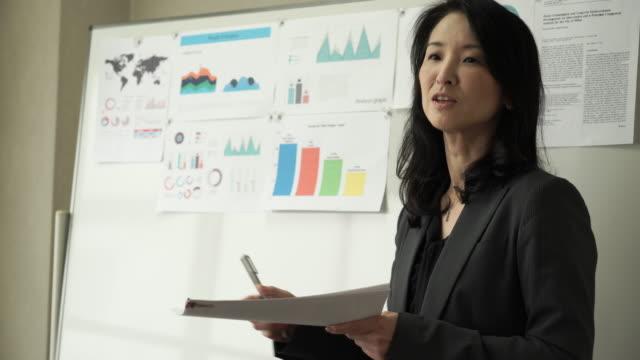 仕事一色にしたミーティングルーム - ビジネスウーマン点の映像素材/bロール