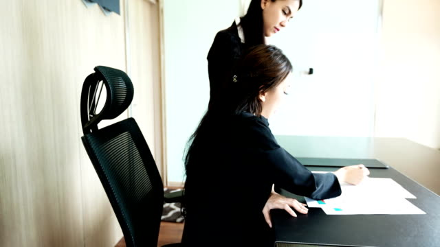 Businesswoman review meeting video