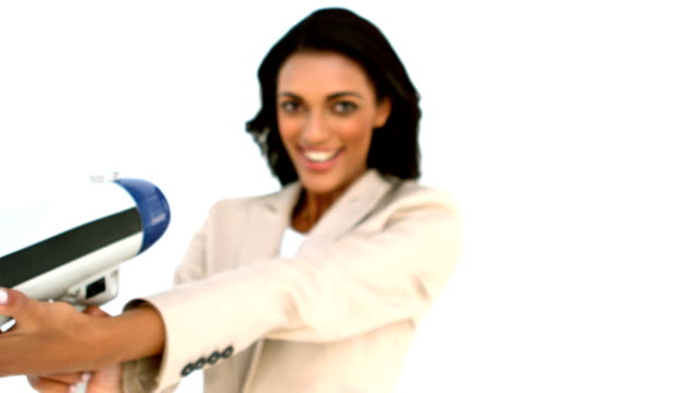 Businesswoman showing megaphone to the camera video