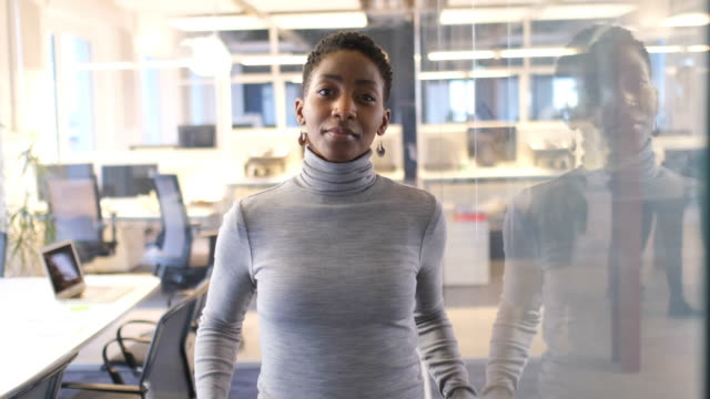 vídeos de stock e filmes b-roll de businesswoman standing arms crossed in new office - etnia
