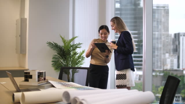 vídeos de stock e filmes b-roll de businesswoman talking with her manager about business project work - senior business woman tablet