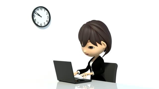 деловая женщина, чтобы увидеть часы - характеры стоковые видео и кадры b-roll