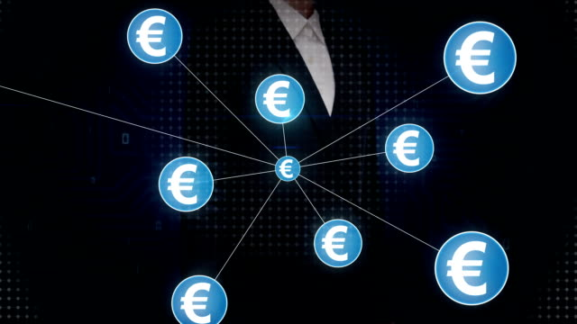Businesswoman touching Euro currency symbol, Numerous dots gather to create a Pound currency sign, dots makes global world map, internet of things. financial technology video