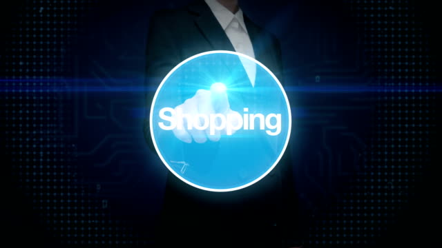 Businesswoman touching screen, Internet shopping icon connect global world map, grow online commerce network.2. video