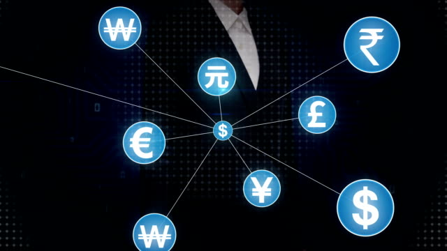 Businesswoman touching Various currency symbol, Numerous dots gather to create a Pound currency sign, dots makes global world map, internet of things. financial technology video