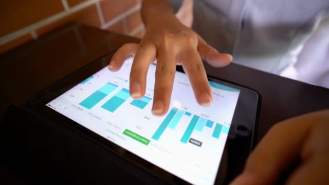 Businesswoman use tablet for business video