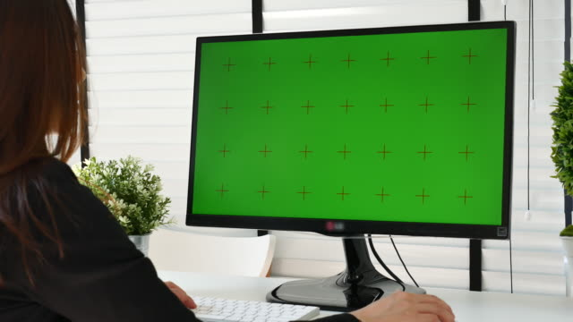 businesswoman using computer with green screen - dolly shot video stock e b–roll