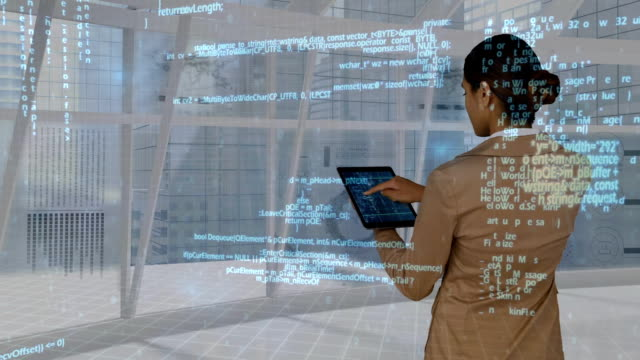 Businesswoman using digital tablet while data projected on interface moving behind her