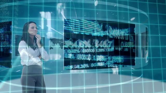 Businesswoman using futuristic screen