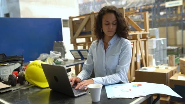 imprenditrice che usa laptop e controlla un documento in magazzino - frenetico video stock e b–roll