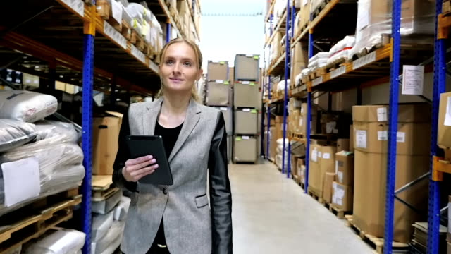 Businesswoman with digital device in warehouse video