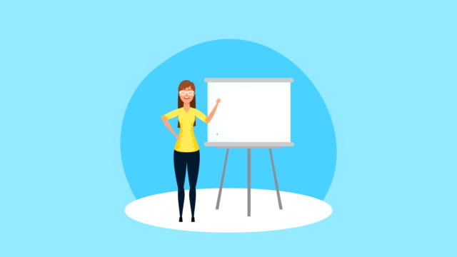 businesswoman with paper board statistics video