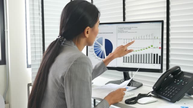 Businesswoman working Analyzing Business Data in the office