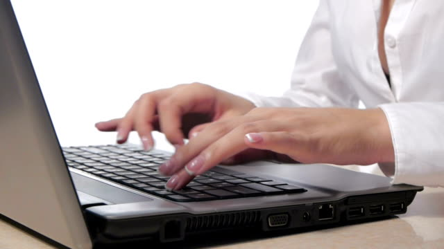 Businesswoman  working on her computer at the office video