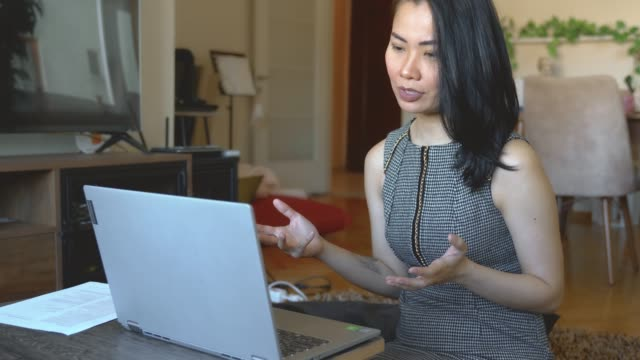Businesswoman working online at home office with laptop
