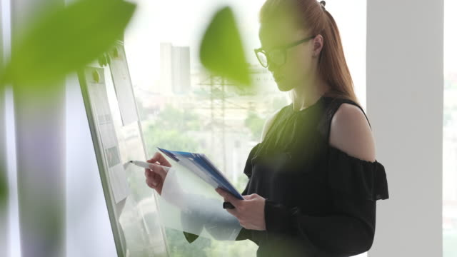 Businesswoman writing notes on office whiteboard