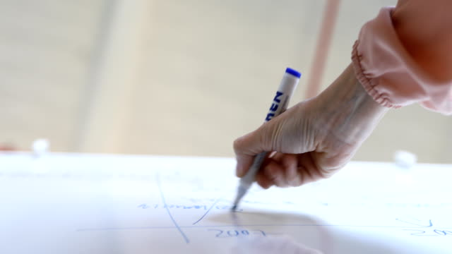 Businesswoman writing strategy on whiteboard Low angle view of businesswoman writing strategy on whiteboard during meeting at creative office sleeve stock videos & royalty-free footage