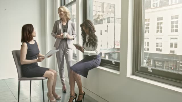 Businesswomen discussing by window in office Businesswomen discussing by window in office. brightly lit stock videos & royalty-free footage