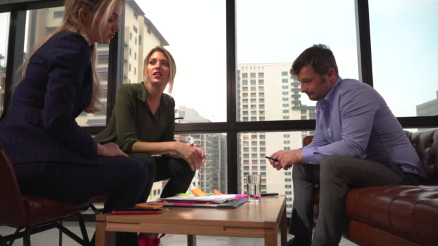 Businesswomen having discussion with male coworker
