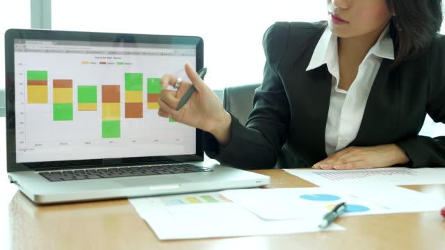 analisi finanziaria donne d'affari parlando con tablet e grafici stampati - rapporto video stock e b–roll