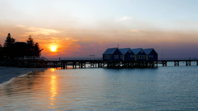 busselton jetty at sunset wide view video