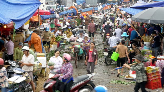 Busy and chaotic wholesale food market in Hanoi Vietnam video