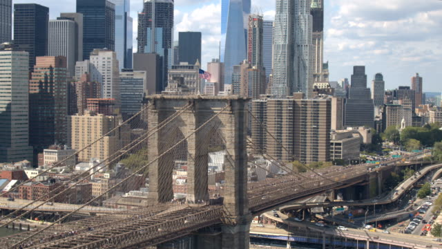 AERIAL: Busy Brooklyn Bridge interchange expressway highway with many overpasses video